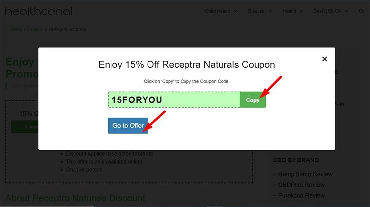 receptra naturals coupon step 1