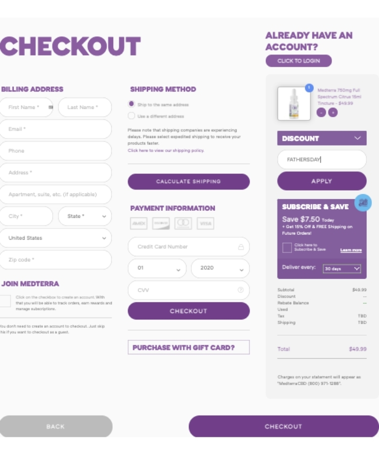 Copy The Verified Medterra Coupon Code/Promo Code And Paste It Into The Promo Code Field